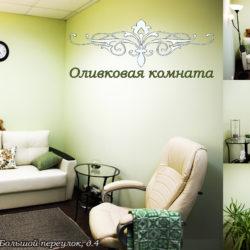 Невероятно стильная и выдерженая в светло-зелёных тонах – оливковая комната. Работая в этой комнате, есть ощущение наполненности и гармонии. Живые цветы придают ей атмосферу домашнего тепла. Работая в такой обстановке Вас ждут самые интересные и глубинные истории Ваших клиентов. Оливковая комната подходит для индивидуальных приёмов и работы с семейными парами.